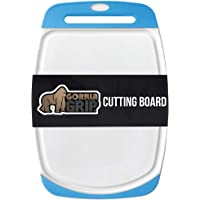 Gorilla Grip Original Oversized Cutting Board, Large Size, 16 Inch x 11.2 Inch, BPA Free, Juice Grooves, Thick Board, Easy Grip Handle, Dishwasher Safe, Non Porous, Kitchen, Chef, Professional, Aqua
