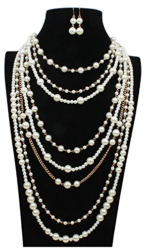 - Shineland Multilayer Strand Simulated Faux Pearl Statement Long Sweater Chain Necklace And Earrings Set (Style # 1)
