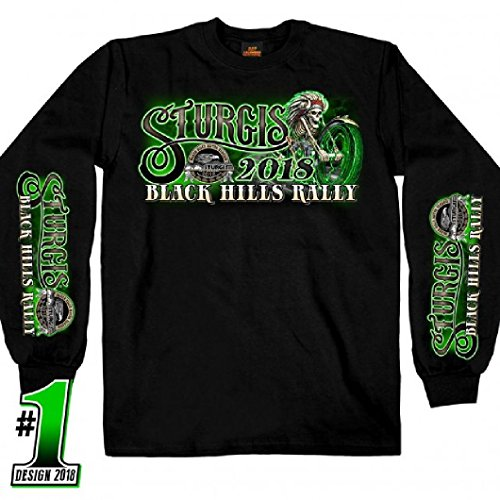 2018 Sturgis Motorcycle Rally #1 Design Skeleton Chief Black Long Sleeve ()