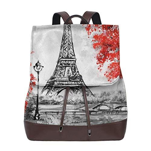 Paris Landscape Womens Leather Backpack Vintage Laptop Backpack Travel Daypack College School Bookbag For Women Girls & Students
