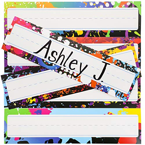 (Desk Nameplates - 48-Pack Colorful Desktop Reference Name Plates, 6 Splash Designs, Paper Name Tags for Teachers, Students, Desk Labeling, 11.5 x 3.0 inches)