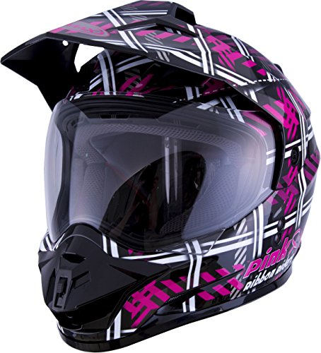 Gm Ribbon - GMAX GM-11 Adult Pink Ribbon Riders Daul-Sport Motorcycle Helmet - Black/Pink/Medium