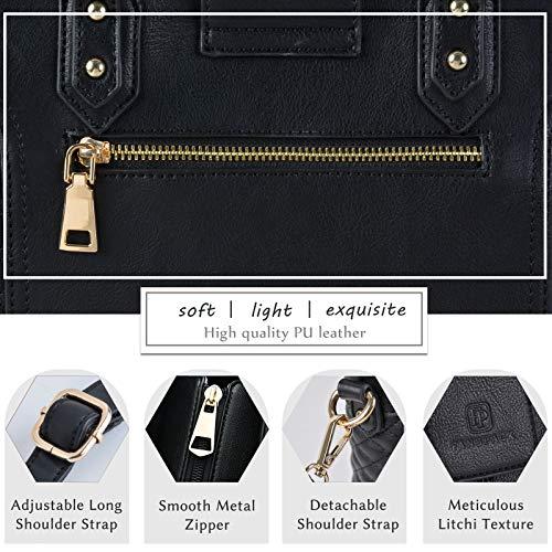 Fanspack Women's PU Leather Tote Bag Lattice Pattern Top Handle Tote Handbags Crossbody Shoulder Bag Purses and Handbags by Fanspack (Image #2)