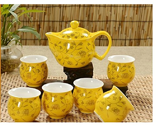 Greencherry Chinese Tranditional Yellow Golden Leaves Wedding Porcelain Tea Set Teapot and Tea Cup 7 Pcs