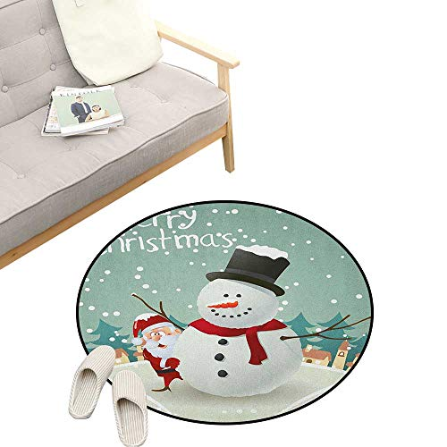 Christmas Non-Slip Round Rug ,Merry Christmas Cartoon with Santa Snowman Pines Houses Winter, Washable Living Room Bedroom Kids 47