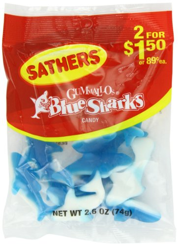 Farley's & Sathers Candy, Blue Sharks, 2.6 Ounce, Pack of ()