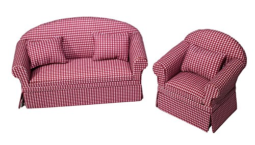 Inusitus Set of Matching Dollhouse Sofa & Armchair | Dolls House Furniture Couch & Chair - Red Checkered - 1/12 Scale (red ()