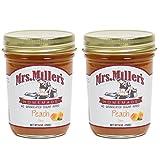 Mrs. Miller's Amish Homemade Peach No Granulated Sugar Added Jam 9 Ounces - Pack of 2 (No Corn Sugar)