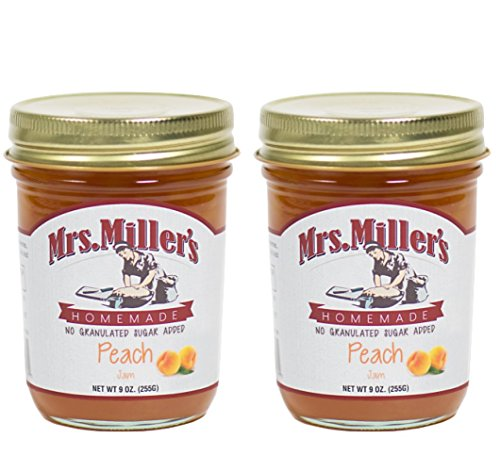 (Mrs. Miller's Amish Homemade Peach No Granulated Sugar Added Jam 9 Ounces - Pack of 2 (No Corn)