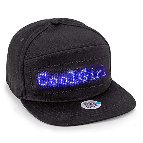 Leadleds Animated Bluetooth Led Sign Hat Hip hop Street Dance Party Parade Sunscreen Hiking Night Running Fishing Cap Gift (Black Cap Blue LED)