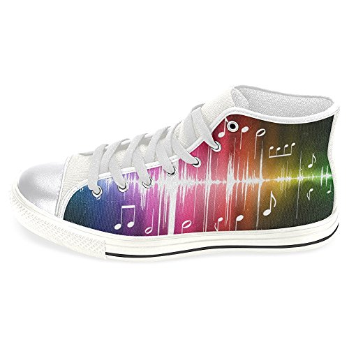 INTERESTPRINT Women's High Top Classic Casual Canvas Fashion Shoes Trainers Sneakers Color Spectrum Pulse with Musical Notes Original Size 7 for $<!--$29.99-->