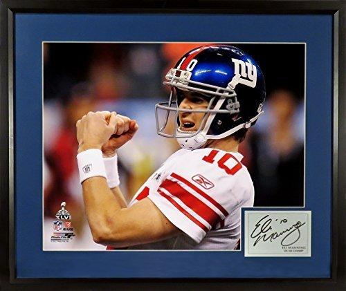 (Eli Manning New York Giants 11x14 Super Bowl XLVI Fist Pump Photograph (SGA Signature Series) Framed)