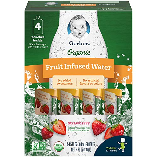 Gerber Purees Organic Fruit Infused Water Strawberry, 4Count