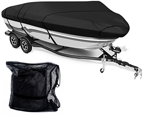 Leader Accessories 600D Polyester 5 Colors Waterproof Trailerable Runabout Boat Cover Fit V-hull Tri-hull Fishing Ski Pro-style Bass Boats,Full Size (14'-16'L Beam Width up to 90'', Black)
