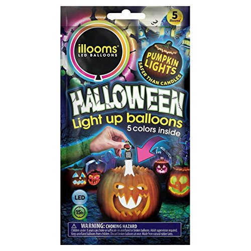 Illooms LED Light Up Balloons Halloween Pumpkin Lights