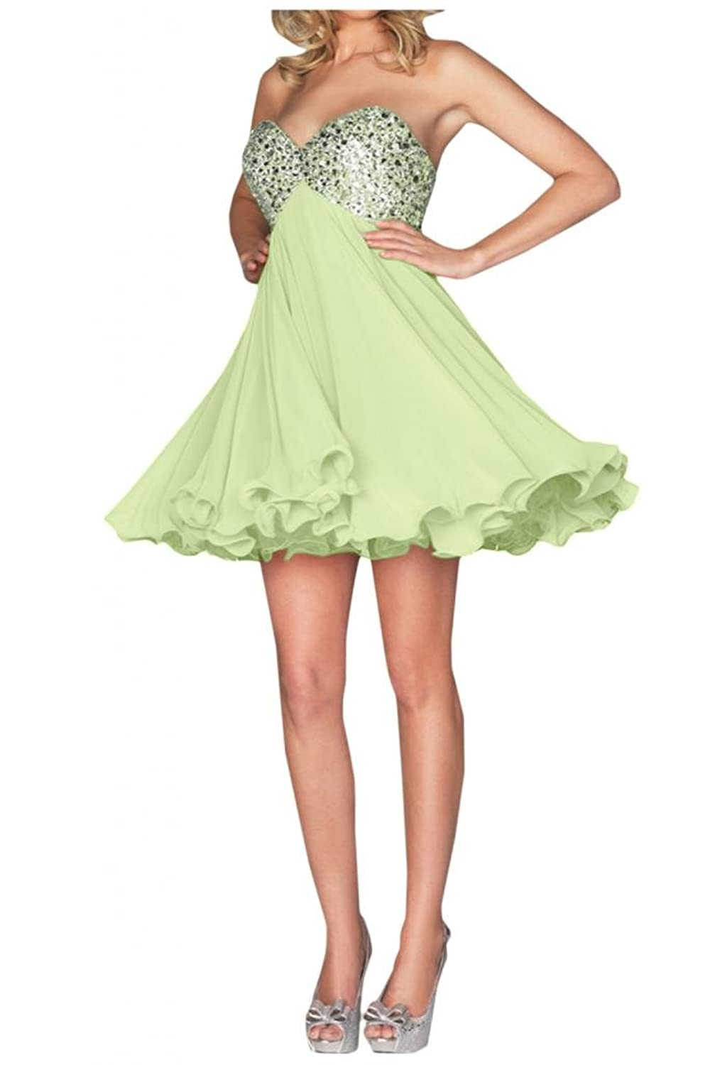 Gorgeous Bride Sequin Sweetheart Short Chiffon Party Cocktail Dress Lace-up