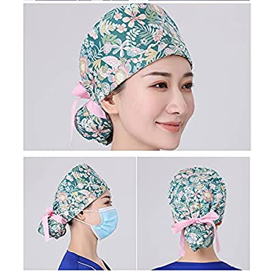 Men Women Scrub Caps with Button Sweatband Working Caps Adjustable Turban Hats