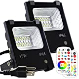 MELPO 15W LED Flood Light Outdoor, Color Changing RGB Floodlight with Remote, 120 RGB Colors, Warm White to Daylight Tunable, IP66 Waterproof, US 3-Plug (2 Pack) Review