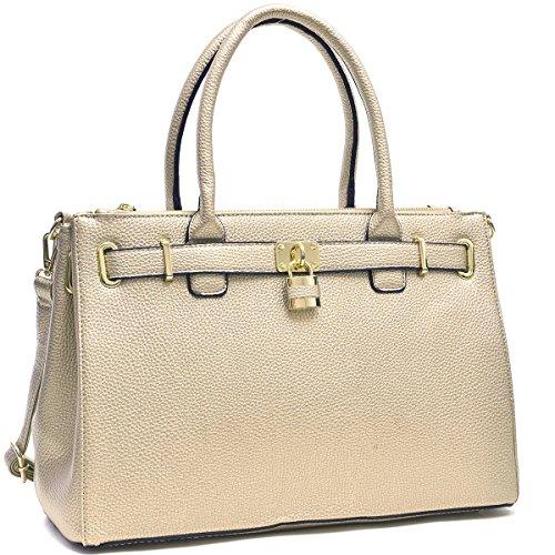 MMK collection Fashion Handbag (1006~Croco Packlock Handbag~Perfect Beautiful Designer Purse & Women Satchel Purse (MA-03-0326-GOLD) ()
