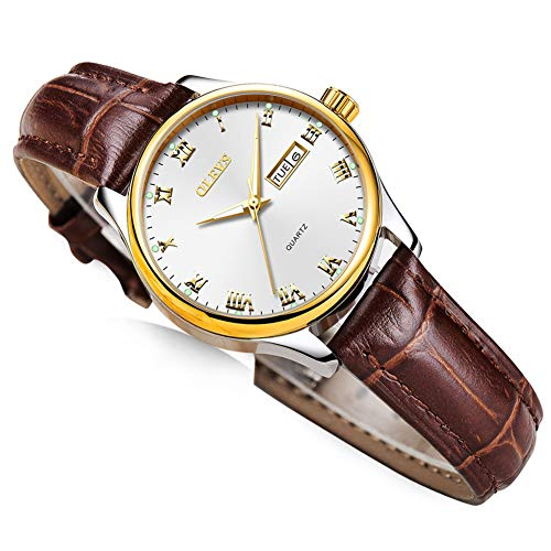 Day Date Women Watch,Casual Ladies Watches with Brown Leather,Women Lady Dress Analog Quartz Watch,Ladies Watches Luminous,Roman Numerals Watches for Women,Women Fashion Watches on Sale Clearance
