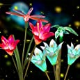 Anpro 2 PCS Solar Garden Lights Outdoor, Garden Decor with 6 Lily Flower and Butterflies Combination Decorative Lights Multi-Color Changing LED Solar Stake Lights for Path, Yard, Yard Art, Yard Decorations