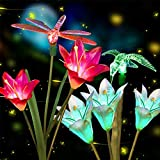 Anpro 2 PCS Solar Garden Lights Outdoor, Garden Decor with 6 Lily Flower and Butterflies Combination Decorative Lights…