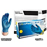 AMMEX - IVBPF46100 - Vinyl Gloves - GlovePlus - Disposable, Powder Free, Non-Sterile, 4 mil, Large, Blue (Case of 1000)