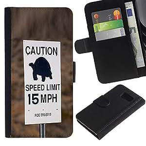KLONGSHOP / Tirón de la caja Cartera de cuero con ranuras para tarjetas - Turtle Slow Speed Limit Car Driver - Samsung Galaxy S6 SM-G920