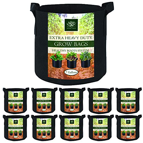 AROMA TREES Round Plant Grow Bags Heavy Duty Thickened Fabric Pot Grow Bags with Handles for Gardening Pots, Aeration…