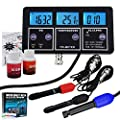 6 in 1 Multi-Parameter pH/ORP Redox/EC/ CF/TDS PPM/Temp. ATC Professional Combo Testing Meter Rechargeable Unit w/Removable BNC Electrode for Aquarium Hydroponics Lab Spas Pools Water