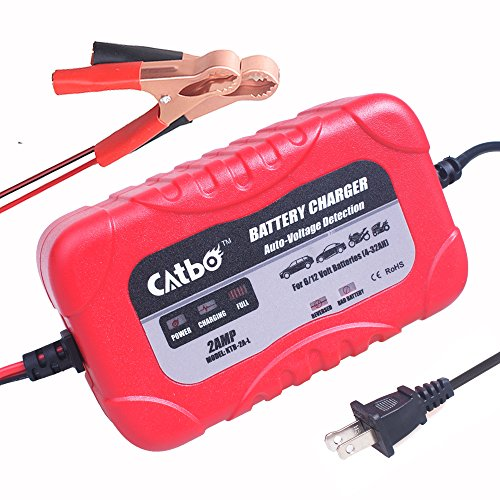 CATBO 2Amp Smart Battery Charger Maintainer 6V 12V Charging Selectivity Smart Charging Technology Sealed Lead Acid Battery Trickle Charger Maintainer for Cars Motorcycles ATVs RVs ()