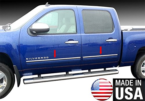 Made in USA! Works with 2009-2013 Chevy Silverado Full Size 4 DR Crew Cab Rocker Panel Chrome Stainless Steel Body Side Moulding Molding Trim Cover Top 1