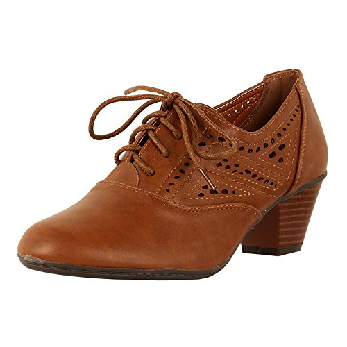 e88b62eb75 Guilty Shoes Womens Classic Retro Two Tone Embroidery - Wing Tip Lace Up  Kitten Heel Oxford