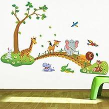 Kids Wall Sticker Decals, Decor Stickers, Jungle Adventure Decorative Peel & Stick Wall Art Sticker Decals for Children Bedroom, Nursery, Playroom Mural