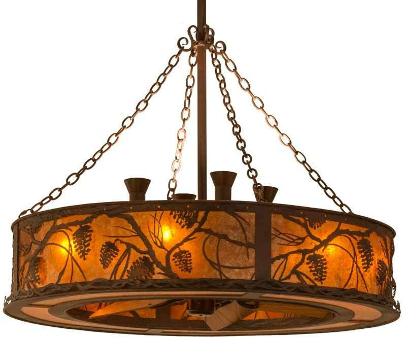 Meyda Tiffany 141752 Rustic 12 Light Chandel Air From Whispering Pines Collection In Bronze Dark Finish 44 00 Inches Rust Wrought Iron