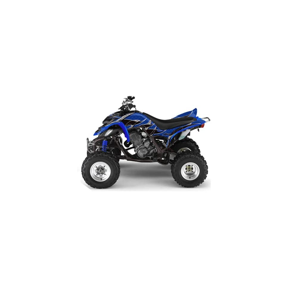 AMR Racing Yamaha Raptor 660 ATV Quad Graphic Kit   Tribal Flames Blue, Black