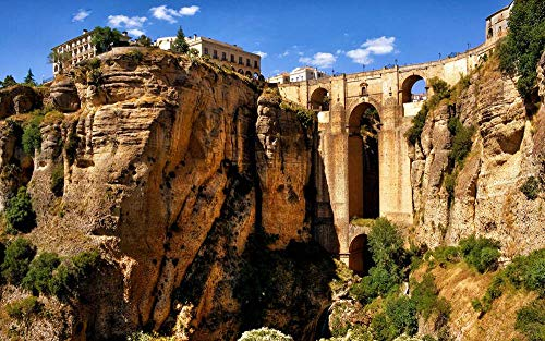 - CU.RONG Spain Aqueduct Mountain Bridge Arch Canyon,Art Print on Canvas,Wall Decor Poster 24x36 inches