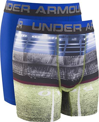 Under Armour Boys' Big Performance Boxer Briefs, Football Field/Royal, YSM