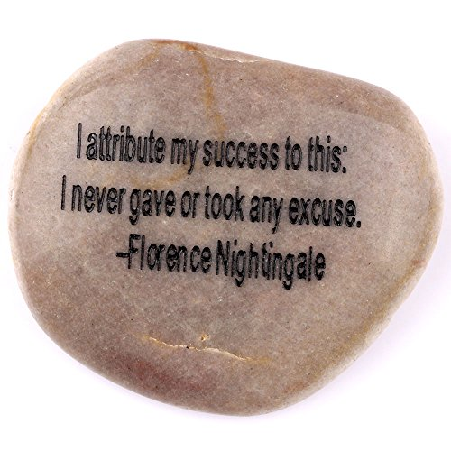 """Holy Land Market Engraved Inspirational Stones collection – Stone IX : Florence Nightingale : """"I attribute my success to this – I never gave or took any excuse."""" For Sale"""