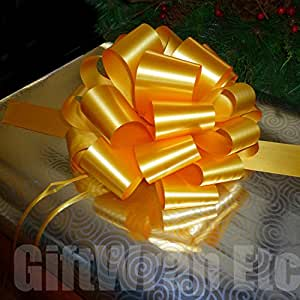"""Large Gold Ribbon Pull Bows - 9"""" Wide, Set of 6, Wedding Decorations, Christmas Gifts Decor"""