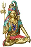"Aone India 12"" Large Shiva Idol Brass Sculpture Turquoise Hindu God Figurine Shiva Statue Diwali Decor Gifts + Cash envelope (Pack of 10)"