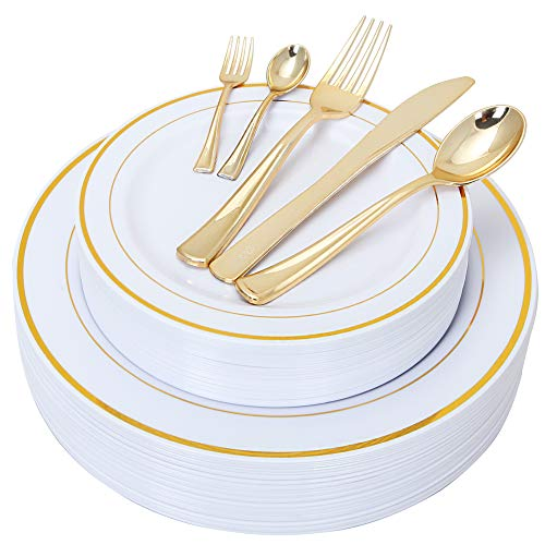 175 Piece Gold Plastic Plate & Cutlery Set Service for 25 Disposable Place Setting Include: 25 Dinner Plates,25 Dessert plates, 25 Forks,25 Knives, 25 Spoons, 25 Mini Forks,25 Mini Spoons -