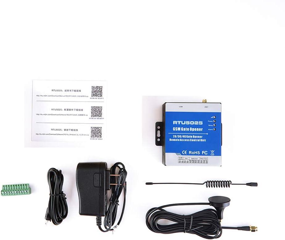 RTU5025 GSM 3G SMS Operator GSM 3G con alarma m/óvil y sin tarifa de llamadas Abridor de puerta con mando a distancia y control de elecci/ón GSM Negro para garajes//puertas autom/áticas