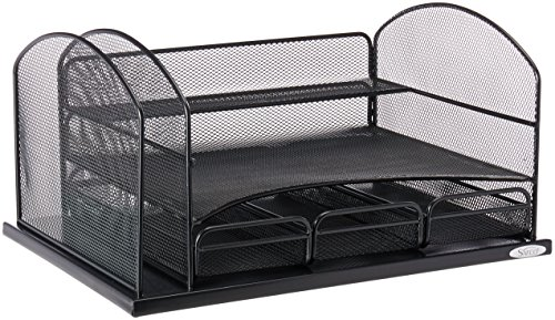 Safco Products 3252BL Onyx Mesh Desktop Organizer with 3 Drawers, (Safco 3 Shelf)