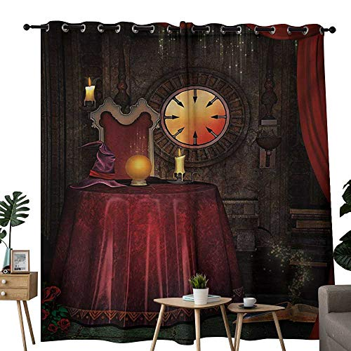 NUOMANAN Thermal Insulated Blackout Curtain Gothic,Fortuneteller Room with Mystic Crystal Ball Magician in Fairy Tale Image Print,Maroon Brown,Blackout Draperies for Bedroom Living Room 54