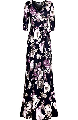Bon Rosy Women's 3/4 Sleeve Floral Maxi Paris Bohemian Mock Wrap Dress Navy M