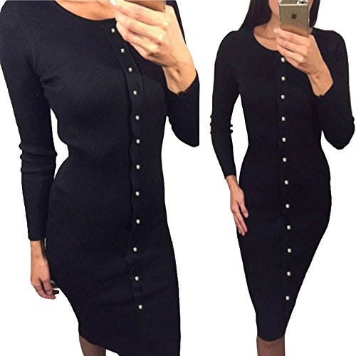Longwu Women's Round Neck Ribbed Elbow Long Sleeve Knit Sweater Dress Black-L