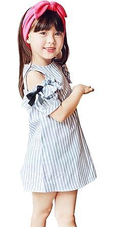 2ad89475967 Amazon   FireflyShop 女の子 半袖 オープンショルダー ワンピース ストライプ 肩開き 肩出し 肩穴 子供服 オフショルダー    ワンピース・チュニック 通販