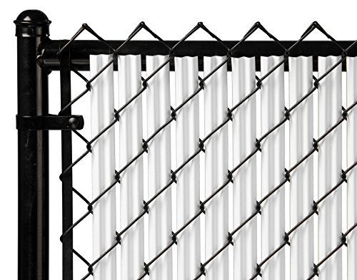 Ridged Slats Slat Depot Single Wall Bottom Locking Privacy Slat for 3', 4', 5', 6', 7' and 8' Chain Link Fence (4ft, White) ()