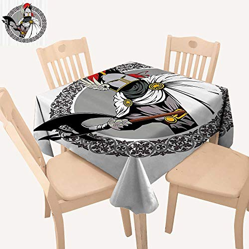 UHOO2018 Spillproof Fabric Tablecloth The Medieval Knight with Traditial Costume and Ancient Mask Square/Rectangle Washable Polyester,50x 50inch